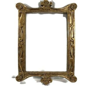 Plaster Picture Frame Scrolls Relief 30 1 2 X 20 1 4 Gold And Silver Ornate
