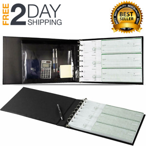 business Check Binder Document Page Checkbook Holder Pouch Folder 7 Ring Clip