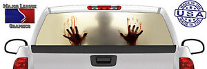 Zombie Walking Dead Blood Brains Back Window Graphic Perforated Decal Truck