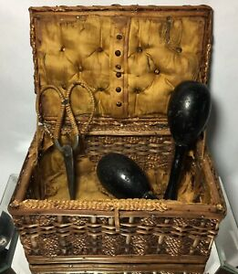 Victorian Wicker Sewing Box Tufted W Darner Matching Scissors Antique Display
