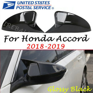 For Honda Accord 2018 2019 Glossy Black Ox Horn Rear View Mirror Cover Cap Trim