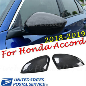 Carbon Fiber Style Rear View Side Mirror Trim Cover For Honda Accord 2018 2019
