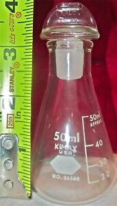 Pyrex Vintage Science Lab Clear Glass Flask Bottle Stopper 50 Ml
