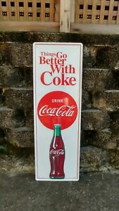 Vintage Drink Coca Cola Things Go Better With Coke Tin Advertising Sign 54
