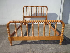 Antique Jenny Lind Wood Bed Country Queen Size Wood Spindle Headboard Footboard