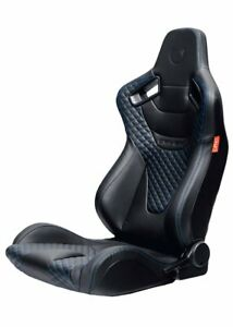 Cipher Auto Ar 9 Black Leatherette Blue Diamond Stitching Racing Seats Pair New