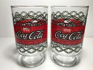 Vintage Enjoy Coca-Cola Drinking Glass Tiffany Style Tall Large Glass Set of 2
