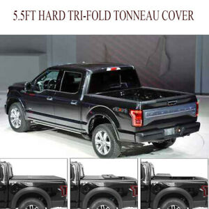 Oem Hard Tri fold Truck Bed Tonneau Cover solid 5 5ft fits 2014 2019 Ford F 150