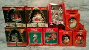 9 Loose COCA~COLA COKE TRIM-A-TREE Christmas Tree Ornaments Santa Polar Bear
