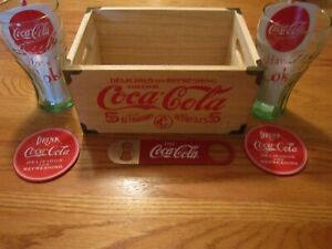 Coca Cola Wood Crate-Glasses-Straws-Coasters- Bottle Opener-Dancing Bear