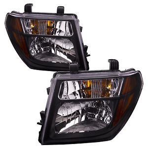 Headlights Set Black W clear Lens For 05 08 Nissan Frontier 05 07 Pathfinder