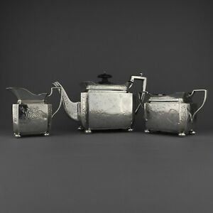 Ornate Antique Solid Sterling Silver Tea Coffee Pot Set Aesthetic Japanese