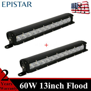 2x 60w 13inch Led Light Bar Flood Beam Single Row Toyota Chevrolet Trailer 4wd