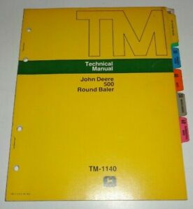 John Deere 500 Round Baler Service Shop Repair Technical Manual Original Jd 4 75