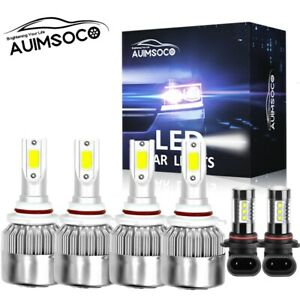 For Jeep Commander 2006 2010 Led Projector Headlights Fog Bulbs Kit 6000k White