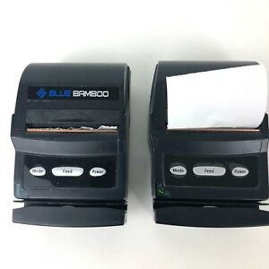 2 Blue Bamboo P25i Receipt Printers In Carry Case Cord Paper Aux Cord For Car