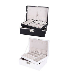 2piece Jewelry Box Organizer Dual Layer Case For Earrings Necklace W Lock