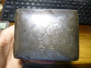 Antique Sterling Silver Box Asian Wood Lined