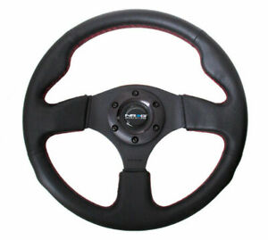 Nrg New Age Sport Steering Wheel 320mm Leather W Red Stitch