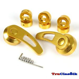 Billet Aluminum Custom Style 84mm Gold Window Cranks Handles Diy Fits Kdm Cars