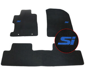 For 06 11 Honda Civic 4dr 2dr Floor Mat Black Nylon Front Rear Carpet W Blue Si