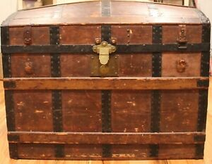 Large Vintage Steamer Trunk With Dome Top