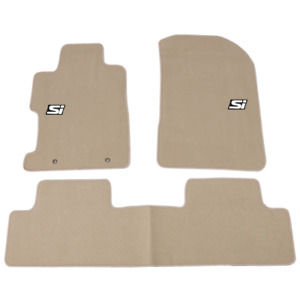 For 06 11 Honda Civic Nylon Floor Mat Non slip Front Rear Beige 3pc Carpet W Si