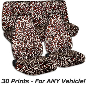 Animal Print Car Seat Covers For Any Car truck van suv jeep Full Set Front Rear
