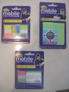 Post it Mobile Attach And Go Green Note Pad Tabs Flags Lot Of 3 New
