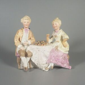 Antique Bisque Porcelain Nodder Figurine Victorian Couple Playing Chess German