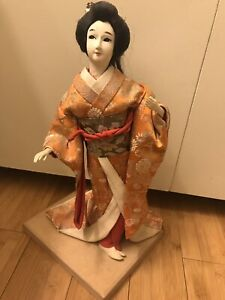 Beautiful Old Classic Vintage Asian Japanese Geisha Doll Kimono On Stand
