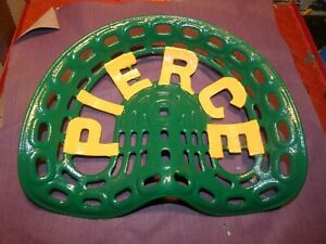 Pierce Vintage Iron Tractor Farm Implement Seat Nameplate Genuine Antique