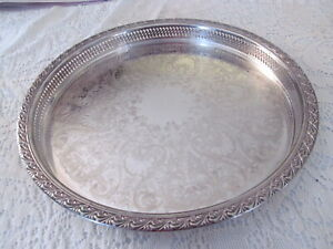 Vtg Silver Plate Serving Tray Stamped Wm Rogers 772 6