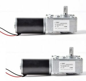 2x Tsiny Small High Torque 12v Reversible 35 Rpm Dc Worm Gear Motor Bbq Drive