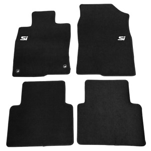 For 16 20 Honda Civic Anti slip Floor Mats Front Rear Carpets Black Nylon W Si