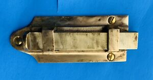 Circa 1825 Antique Hardware Federal Brass Cabinet Door Slide Lock Bolt Latch