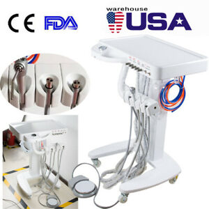 Dental Delivery Unit Mobile Cart Work With Compressor Portable 4hole Clinic Fda