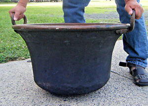 25in Huge Antique 1800s Primitive Hammered Copper Kettle Pot Cauldron 30 Lb