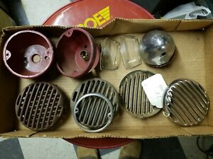 Vintage Used 1930s Ford Light Bezels Housings Lens Stainless Set See Pics