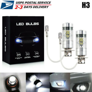 2x H3 Led Fog Lights Headlight 100w Conversion Kit Super Bright Drl 6000k White
