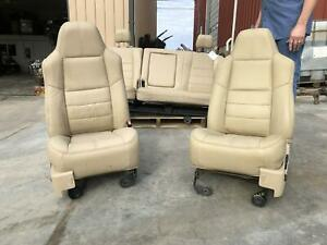 Ford F250 F350 Super Duty Seat Set Front Rear Driver Passenger Leather 08 09 10
