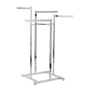 Retail Clothes Rack Four Way Prong Clothing Garment Display Adjustable Height