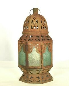 Antique Primitive Rustic Barn Candle Lantern Textured Glass Green Blue