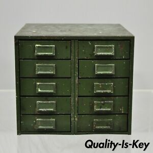 Antique Small Industrial Steel Metal Machinist 10 Drawer Green Box Chest