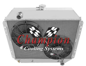 3 Row Cold Champion Radiator 2 12 Fans For 1968 1979 Ford F series Chevy Conv