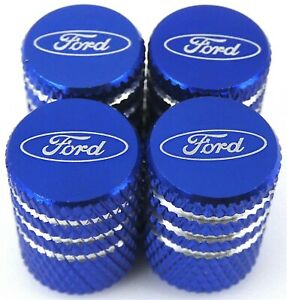 4x Ford Tire Valve Stem Caps For Car Truck Universal Fitting blue