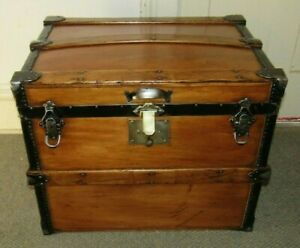 Antique Steamer Trunk Vintage 24 Hat Box Style Basswood Chest Tray