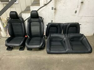 2015 2017 Mustang Gt Coupe Front And Rear Seats Black Leather white Stitch Oem