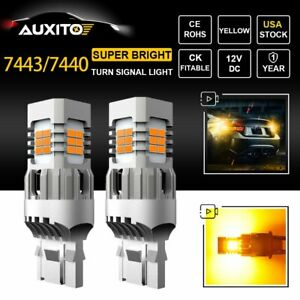 2x Auxito 7443 7440 7444na Led Amber Yellow Bulbs Car Turn Signal Light Bright