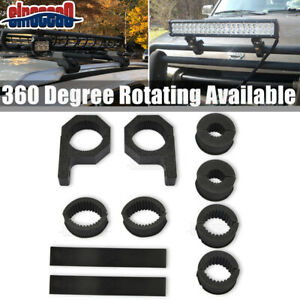 Roof Rack Bumper Bull Round Bar Light Lamps Clamps Mount Set For Dodge Jeep Ford